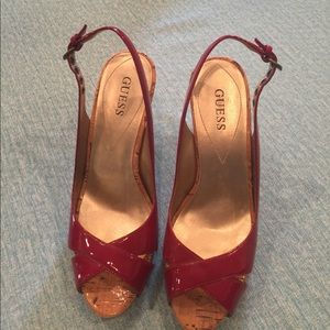 Guess, size 6 red patent leather sling back heels.